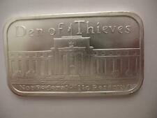 1-OZ.PURE.999 BAR NOT FEDERAL NO RESERVE  DEN OF THIEVES SILVER IS MONEY + GOLD