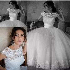 UK New White/Ivory Lace Wedding Bridal Evening Ball Gown Size 8 -16