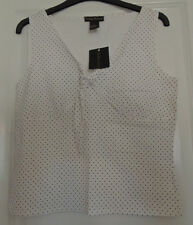 Sydney East Top - White With Black Polka Dot Pattern Bust Knot Effect - M BNWT