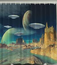 UFO ALIEN PLANET MOUNTAINS RIVER SCIENTIFIC ODD WORLD SCENE Shower Curtain