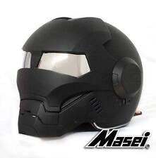 Masei 610 Matt Black Atomic-Man Motorcycle Bike Chopper NFL Vespa Icon Helmet