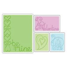 Sizzix Textured Impressions 4 x cartelle goffratura Set VALENTINE BE MINE 655844