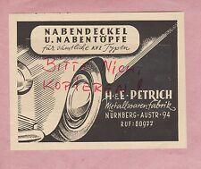 NÜRNBERG, Werbung 1949, Naben-Deckel-Töpfe H & E Petrich Metall-Waren Auto Kfz