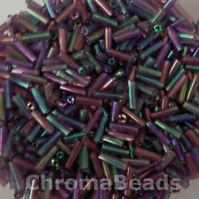 50g glass bugle beads - Purple Metallic Rainbow - approx 6mm tubes, craft