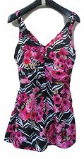 MAXINE OF HOLLYWOOD 18 Blk/Pink SKIRT BATHING SWIM SWIMMING SUIT SLIMMING TUMMY