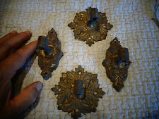 2 Paires de Platines de fixation Ancien Bougeoir Chandelier de Piano en Bronze