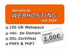 Webhosting mit 100 GB Webspace, SSL-Zertifikat, DE-Domain, PHP5/7, MySQL5 uvm.