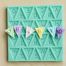 1pc Hot Letter Flag Lace Silicone Mold Cake Decorating Baking  Chocolate Mould