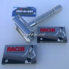 Old Fashioned Safety Razor + RACER Double Edge blades Reloadable Style Butterfly