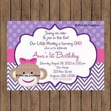 Sock Monkey Girl Birthday Invitation / Monkey Baby Shower Invitation / Printable