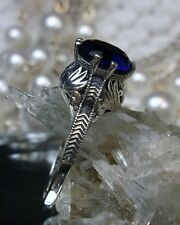 Victorian/Edwardian *Blue Sapphire* Sterling Silver Crown Filigree Ring Size 6