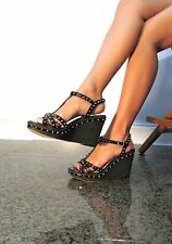 Vince Camuto Black Rock Star STUDDED Leather Open Toe Wedge Heels Sexy 8.5 B EUC