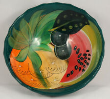 Mexican Ceramic Hanging Bowl Folk Art Hand Made/Painted Glazed Collectible Clay