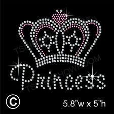 Princess & Crown Rhinestone Transfer Hotfix applique Iron on Motif + Free Gift