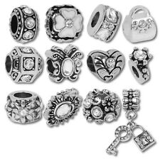 Beads and Charms for European Charm Bracelets White Crystal April Birthstone