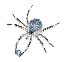 BROOCH/PIN Pave Rhinestones GLITTERING PALE BLUE SPIDER