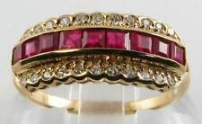 CLASS 9K 9CT GOLD ART DECO INS INDIAN RUBY & DIAMOND ETERNITY RING FREE RESIZE