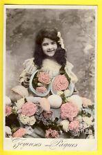 cpa PAQUES 1908 à Georgine HOYAUX à BRUXELLES EASTER Oeufs Fleurs Eggs Flowers