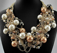 Chunky Swarovski Element Crystal Peach & Cream Pearl Multi Chain Gold Necklace