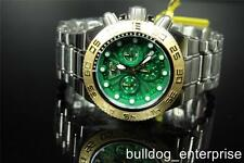 Mens Invicta Subaqua Sport Mid-Size Green Gold Chronograph Watch New 10855