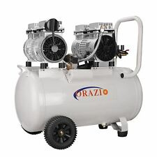 ORAZIOⓇ  Silent Type Oilless Air Compressor 50L 2 Motors Garage Workshop Clinic