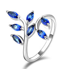 Women Engagement Jewelry Blue Sapphire 925 Silver Wedding Leaf Ring size 8#