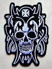 Skull Tribal Tattoo Iron Cross Biker Embroidered Iron on Patch Free Postage
