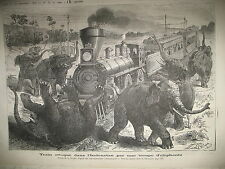 INDE TRAIN LOCOMOTIVE ELEPHANTS STEAMER FRIGO GRAVURES LE JOURNAL ILLUSTRé 1876