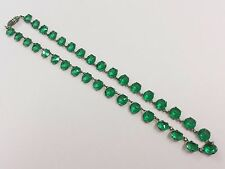 ART DECO OPEN BACKED EMERALD GREEN CRYSTAL GLASS COSTUME NECKLACE 1920