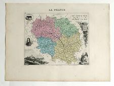 CREUSE Carte géographique Vuillemin Atlas Migeon GUÉRET AUBUSSON BOURGANEUF