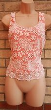 TOPSHOP FLORAL WHITE PEACHY PINK LACE CROP TUNIC CAMI BLOUSE TOP VEST 10 S