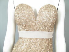 ABYSS by Abby : Small : NWT Rockstar Gold Sequin Dress Mini Built-in Push Bra