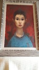 Superb Midcentury Oil Painting Boy in Blue Sweater – NY School Patteran Society