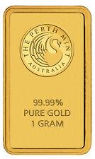 Feingoldbarren 1g Perth Mint Goldbarren 1 Gramm mit Zertifikat Blisterkarte 9999