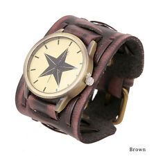Male Retro Punk Rock Wide Band Watch Man-made Leather Bracelet Cuff Wrist Watch