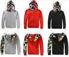 Bape A Bathing ape Jacket Men SHARK Head FULL ZIP HOODIE And velvet Sweater Coat