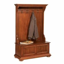 Entryway Hall Tree Distressed Coat/Hat Rack Stand 4-Hook Wood Storage Seat Bench