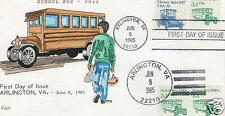 VAN NATTA 1920'S SCHOOL BUS COIL  HAND PAINTED HP FIRST DAY COVER FDC