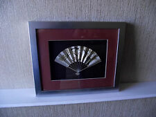 Japanese sterling silver fan by Takehiko, signed & framed 'Ohgi', hand chased