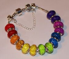 DOUBLE RAINBOW GLITTER MURANO Silver European Charm Bracelet 16 charms safety