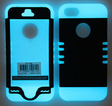 Hybrid Impact Silicone Cover Case for APPLE iPhone 5 5S R Glow Dark/Black