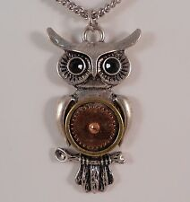 SILVER STEAMPUNK OWL MECHANICAL GEARS GOTHIC BLACK SWARVOSKI CRYSTALS