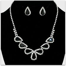 ELEGANT TEARDROP BRIDAL PROM RHINESTONE CRYSTAL STATEMENT NECKLACE & EARRING SET