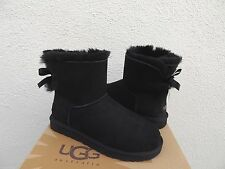 UGG BLACK MINI BAILEY BOW SUEDE/ SHEEPSKIN BOOTS, WOMENS US 5/ EUR 36  ~NIB