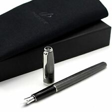 Parker Sonnet Chiselled Carbon Black CT Fountain Pen 18k Medium Nib + Pouch
