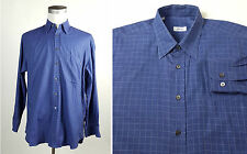 Brioni Large Oxford Collar Dress Shirt Chest Pocket Sewn On Checks MADE ITALY