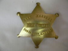Prop Brass Old West CITY MARSHAL INDIAN TERRITORY DODGE CITY, KANSAS Badge