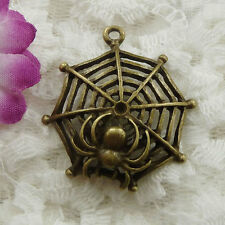 Free Ship 60 pieces bronze plated cobweb pendant 33x31mm #122