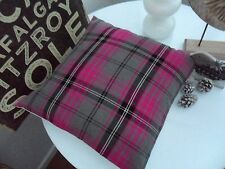 TARTAN CUSHION COVER  WHITE CHECK PLAID PINK CERISE GREY TRADITIONAL  COUNTRY M€