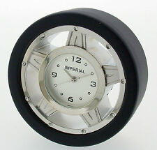 Novelty Miniature Race Tyre Clock in Chrome & Black Finish